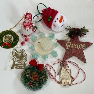 Vintage Lot of 8 Christmas Ornaments Alaska travel